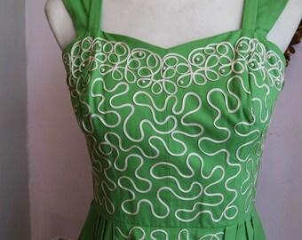 1950's Green Cotton Dress with ribbon braid detail