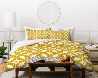 Midcentury Modern Duvet // Twin, Queen, King Sizes // Home Decor // Starburst Gold Design // Bedding // Yellow // Bedroom // Geometric