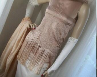 1920s Flapper Style Dress Set Replica Orig Design Size S/XS Fringed Champage Liquid Satin Stunning