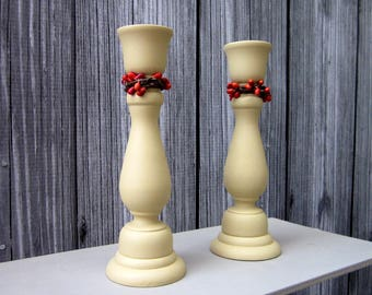 Taper Candle Holders, Tan, Rustic Decor, Pip Berries, Candle Sticks, Pair, Set of Two, Cottage Chic, Painted Wood, Home Decor