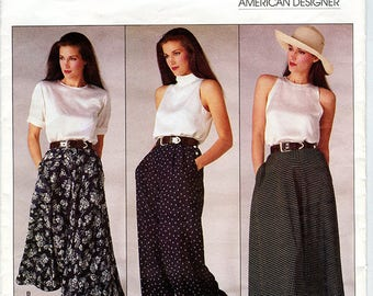 Vintage Calvin Klein Vogue American Designer Sewing Pattern 1723 UNCUT Women's Flared Skirt and Loose Wide Leg Pants Size 8 Waist 24