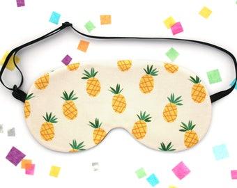 Pineapple Sleep Mask, Tropical Eye Mask, Fruit Fabric, Silk Back