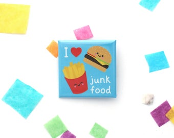 I Love Junk Food Badge, Burger and Fries, Square 38mm Button Badge, Fast Food, Blue Gift