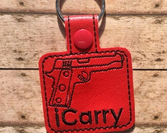 iCarry Key Chain, Embroidered Key Fob, Gun