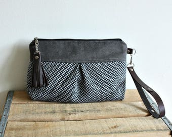 Clutch purse, Wristlet, Pouch, fall style, makeup pouch, wool purse, everyday purse- Ready