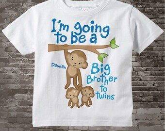 I'm going to be A Big Brother to Twins Shirt or Onesie, Monkey Shirt, Big Brother Monkey with twin babies, Personalized 09242012a