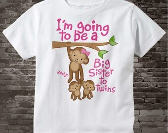 I'm going to be A Big Sister to Twins Shirt or Onesie, Monkey Shirt, Big Sister Monkey with twin babies, Personalized Big Sister 09192013a