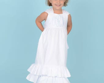 Big Monogram Classic White Sundress Flower Girl Beach  Sister Size 6m to 14 Juvie Moon Designs