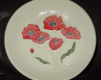 "Pretty Red Poppies Ceramic Jewelry Candy Trinket Soap Dish One of a Kind, Made by Hand, by me   5""                      247"