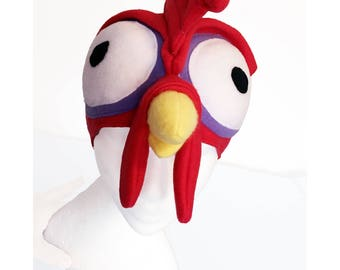 Heihei Inspired Chicken Hat, Moana, Hei Hei Bird, Fleece. Five Sizes: Newborn to XL.
