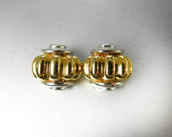 Vintage Two Tone Clip On Earrings Gold Silver Fluted Earrings Fluted Ribbed Design