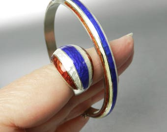Vintage Siam Enamel Bracelet and Dome Ring Red White Blue Bracelet Ring