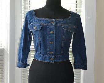 Vintage 80s Jean Jacket - Cropped Length - Square Open Neckline - Denim Shirt Jacket - xs/s