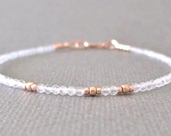 Moonstone Bracelet/ Delicate Moonstone Bracelet/ Moonstone Layering Bracelet/ Moonstone Friendship Bracelet/ Rainbow Moonstone Bead Bracelet