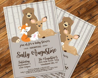 Woodland Shower Invitation, Baby Shower, Woodland Animals, Bear,Fox,Deer, Forest | Editable Text - Verti- DIY Instant Download PDF Printable