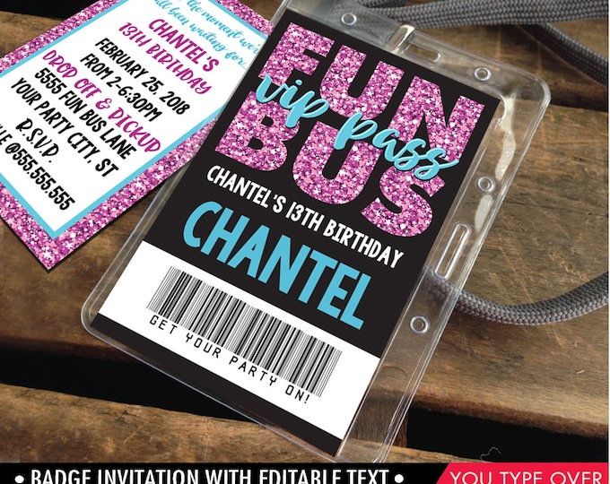 Fun Bus VIP I.D. Badge Invitation - Party Bus Invite, Party Favor, Teen ID Badge, Tween Badges | Instant Download D.I.Y. Printable PDF Kit