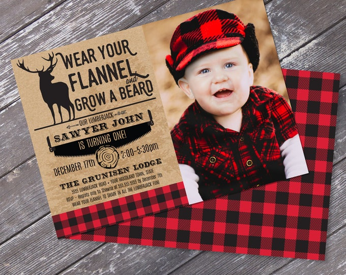 Lumberjack Party Photo Invitation - Lumberjack Birthday, Click & Replace Photo, Self-Editable Text | DIY INSTANT Download PDF Printable