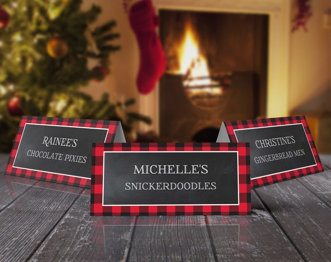 Buffalo Plaid Food Labels - Cookie Exchange , Lumberjack, Cookies & Cocoa, Hot Chocolate | EDITABLE Text - INSTANT Download Printable PDFs