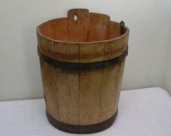 Vintage Wood Sap Bucket with Metal Bands
