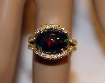 Black Opal Engagement Ring, Opal Engagement Ring, Solid Opal Ring, Natural Black Opal, 14K Designer Ring, Opal Gold Ring, Appraisal Included