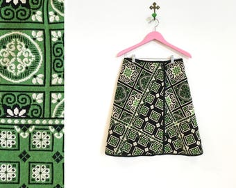 Vintage 1960s Reversible Green and Brown Tapestry Wrap Skirt Size M