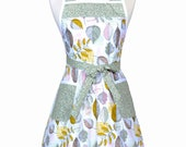 Stella Pinafore Retro Apron - Sage Green Womans Vintage Inspired Cute 50s Style Kitchen Apron to Monogram Embroidery (DP)