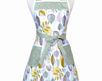 50s Style Retro Apron - Earthy Sage Leaves on White Womans Vintage Inspired Cute Housewife Kitchen Apron to Monogram Embroidery (DP)