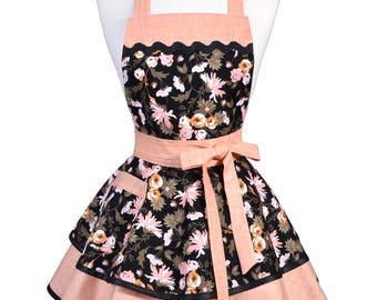Womens Ruffled Retro Apron - Persimmon Black Floral Womans Vintage Style Pinup Kitchen Apron with Pocket to Personalize or Monogram (DP)