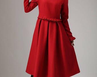 Red dress, wool dress, romantic dress, pleated dress, midi dress, wedding dress, ladies dresses, winter dress, gift for women 741