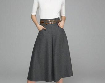 gray skirt, wool skirt, midi skirt, winter skirt, skirt with pockets, high waisted skirt, classic skirt with wide waist band, gift(1383)