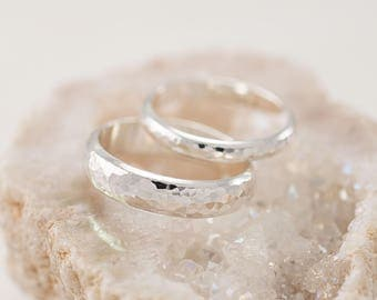 Wedding Band Set Hammered Rings Silver Sterling Bands