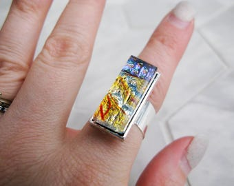 Medium Glass Cocktail Ring (adjustable) – yellow blue
