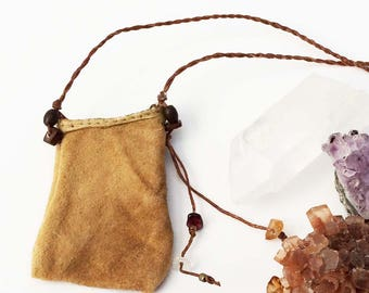 Crystal Pouch: Primitive Rustic Soft Leather Worn and Old-Looking Necklace for Reenactment, Costume; Outlander, Native American Style , LARP