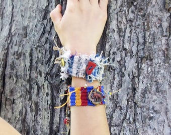 Tapestry Cuff Bracelet , Nautical, Summer Accessory, Woven Boho Wristlet, Mariner, Snap-on style, Military Style Eagle Button, Great Seal