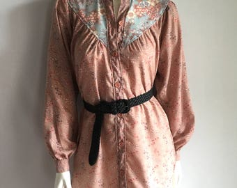 Vintage Women's 70's Boho, Shirt-Dress, Floral, Mauve, Long Sleeve by Girlwatcher (S/M)