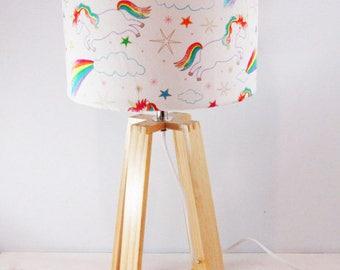 Rainbow Unicorn Lampshade on Wooden Table Lamp  Base - Nursery Lamp - Childrens Light - Reading lamp - Newborn Decor - Free Shipping
