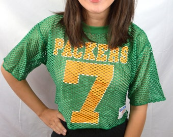 Vintage 1980s Logo 7 Packers Cropped NFL Mesh Tee Jersey Shirt