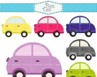ON SALE Car Clip Art _ Pink, Blue, Purple, Green, Beetles Car Clipart, instant download, cute cars clipart, ON Sale