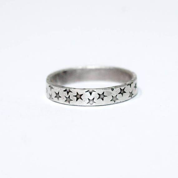 Star Pattern Ring, Sterling Silver, Custom Sized, Space Lover, Superstar, Silver Ring