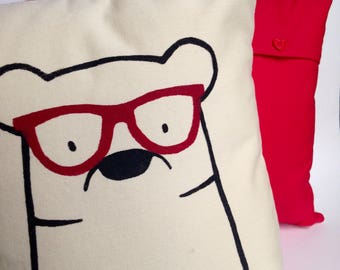 Bear with Glasses Cushion Cover