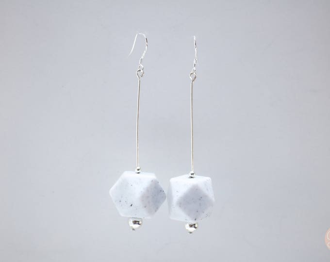Granite Black and White Big Speckled Drop Earrings.