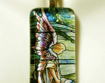 Angel stained glass window violin pendant with chain - GP01-291