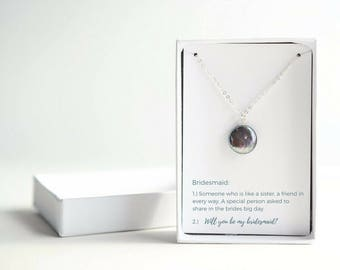 Be My Bridesmaid Gift - Bridesmaid Proposal - Bridal Party Gifts - Sterling Silver Black Pearl Necklace - Gift From Bride to Bridesmaid