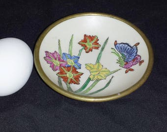 Vintage ACF Porcelain Bowl / 1930s Japanese Porcelain Bowl in Brass with Butterfly and Flowers