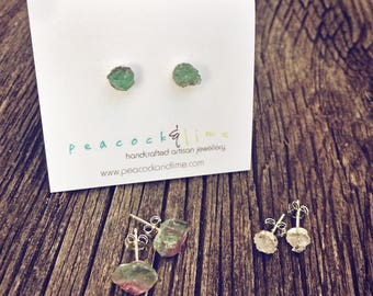Raw uncut Gemstone stud post earrings // sterling silver // herkimer diamond sapphire watermelon tourmaline // rough gem crystal//boho style