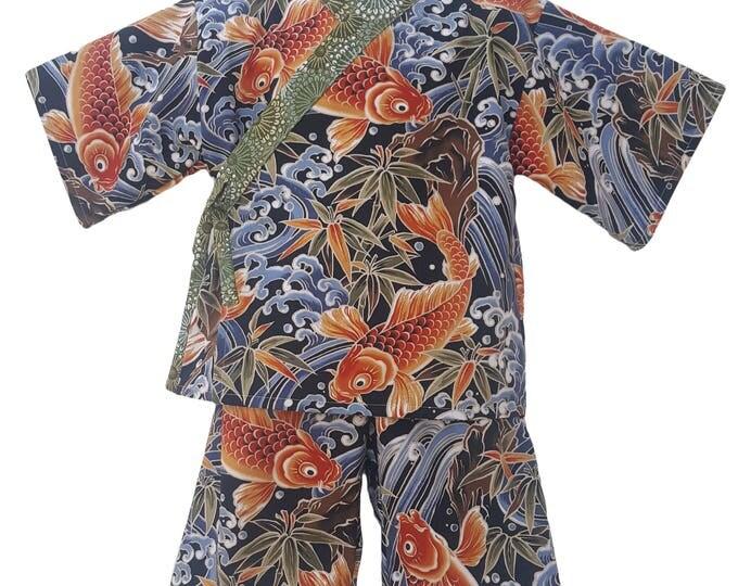 Kids Kimono Jinbei - KOI FISH  - Japanese pajamas loungewear kimono outfit pajamas