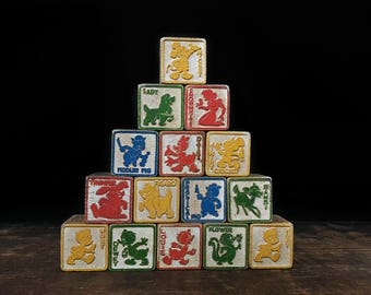 Disney Alphabet Blocks, Vintage Letter Blocks, Number Blocks, Toy Building Blocks, Mickey Mouse, Snow White, Bambi