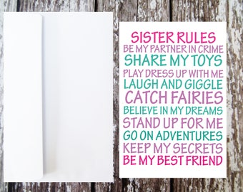 Sister Rules Greetings Card, Card for new baby, New Big Sister card, New sister gift, Card from sister, Girls card, bump to sibling card