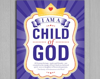2018 LDS Primary Theme Poster Printable in 9 sizes (Instant Download) - I Am a Child of God
