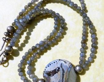 Designer Labradorite necklace by Beadart-Austria with unique Lampwork Glass Focal